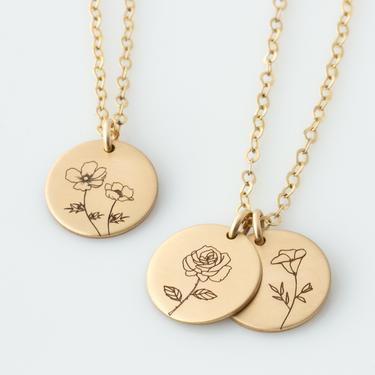 Gold Floral Necklace - Plant Lady Gift - Gardener Gift For Mom - Christmas Gift For Mom - Birth Flower Necklace - Florist Gift - Friend Gift by LEILAjewelryshop
