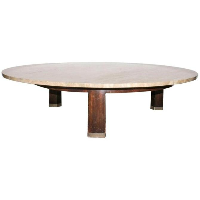 Edward Wormley for Dunbar Mid-Century Modern Coffee Table with Travertine Top