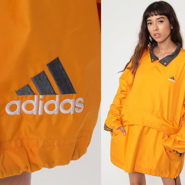 Orange Adidas Jacket 00s Windbreaker Jacket Shell Jacket Pullover Jacket Vintage 1990s Streetwear Jacket Sporty Men's Extra Large xl by ShopExile