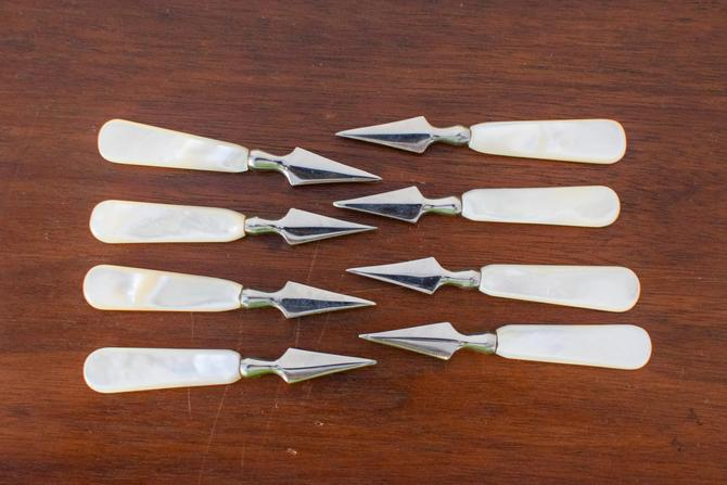 Set of 8 Skewer Mother of Pearl Hors d'oeuvre Appetizer Fork Pick by CapitolVintageCharm