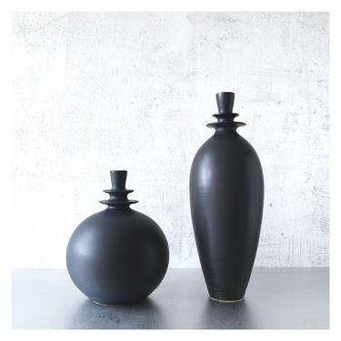MADE TO ORDER- set of 2 Slate grey/black vases by sarapaloma pottery .  industrial modern masculine ceramic pottery art bud vase mid century by sarapaloma