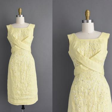 vintage 1960s | Ruth Jones Adorable Butter Yellow Sequin Beaded Cocktail Party Summer Dress | Small | 60s dress by simplicityisbliss