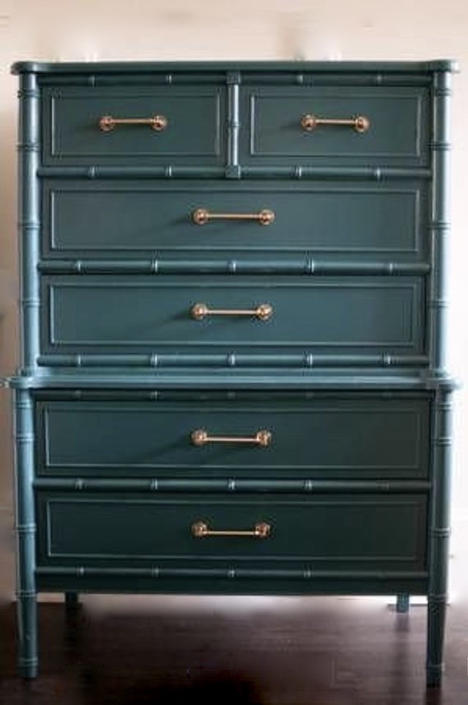 Faux Bamboo chest / Teal blue . Brass hardware Henry Link. Have 2/ 1 can be customized by Dianemarieshome