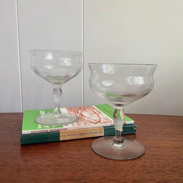 Vintage Cocktail Or Sherbet Coupe Glasses; Optic Glass- Set of 2 by BlackcurrantPreserve