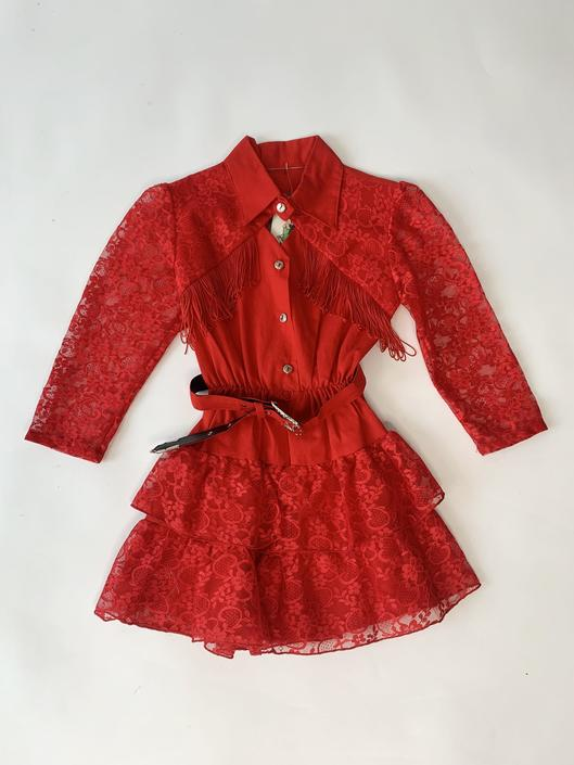 Red Lace & Fringe 80's Kiddo Western Dress