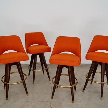 Mid-century Modern Bar Stools Refinished & Reupholstered - Four Available by CyclicFurniture