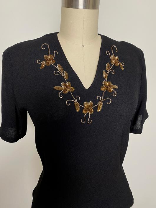 Vintage 1940s Sequined Blouse 40s Crepe Beaded Black and Gold size medium Gift by littlestarsvintage