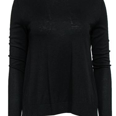 Halston Heritage - Black Sweater w/ Buttoned Silk Back Detail Sz S