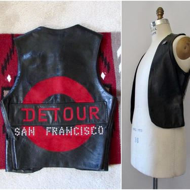 DETOUR San Francisco Vintage 90s Open Vest   1990s Gay Culture LGBt LGBTQ, Black Leather Top with Studs   SF Castro, Biker   Mens Size Small by lovestreetsf