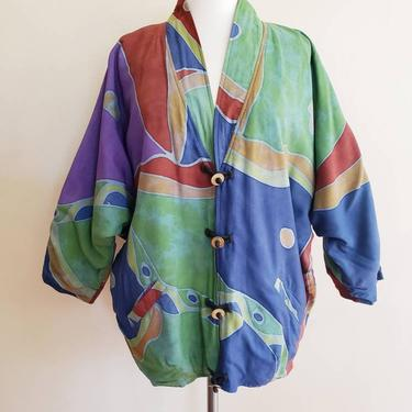 1990s Daily Planet Colorful Rayon Jacket / Multicolored Slouchy Oversized Jacket Button Closure / M L by RareJuleVintage