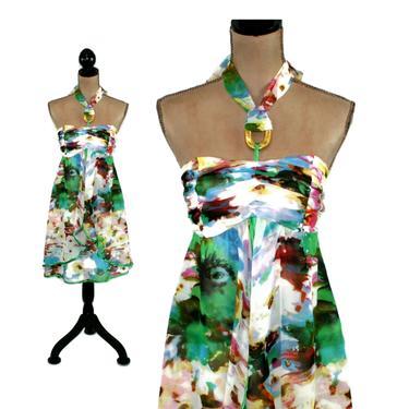 Empire Waist Flowy Chiffon Layered Halter Mini Dress Small, Romantic Boho Summer Babydoll Sundress, Y2K 2000s Clothes Women Vintage Clothing by MagpieandOtis