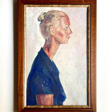Intriguing Vtg Portrait Painting Woman in Profile Social Realism Mystery Artist by templeofvintage