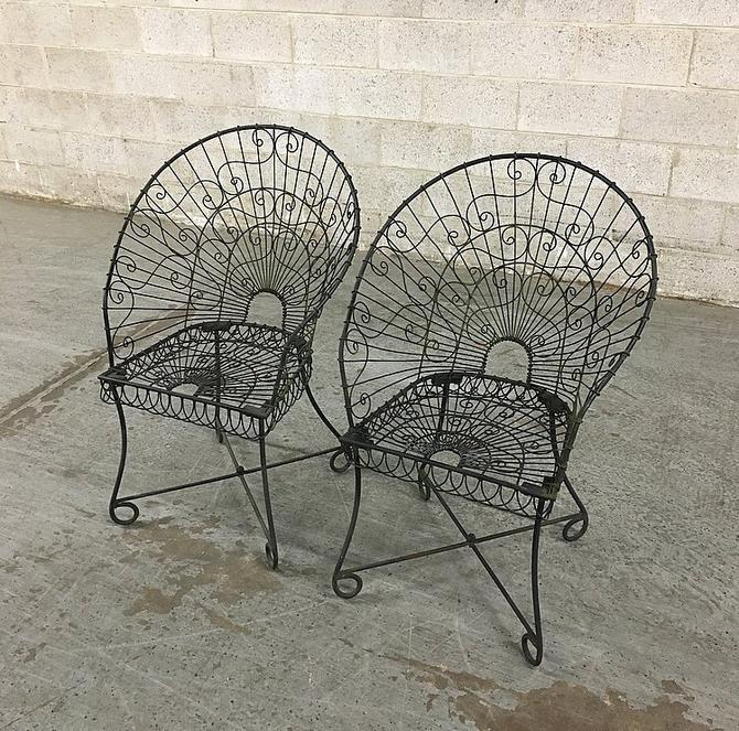 LOCAL PICKUP ONLY Vintage Patio Set Retro 1960s Set of 2 Matching Woven Trim Detail Cast Iron Patio Chairs + High Rounded Back + Curved Feet by RetrospectVintage215