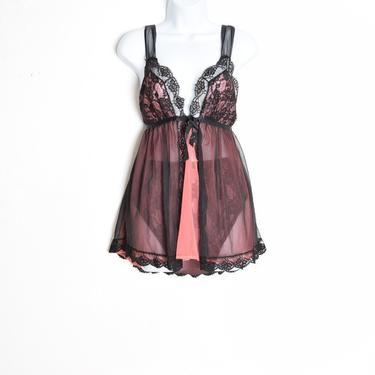 vintage 60s lingerie pink black lace panties babydoll nightie set underwear S Kayser by huncamuncavintage
