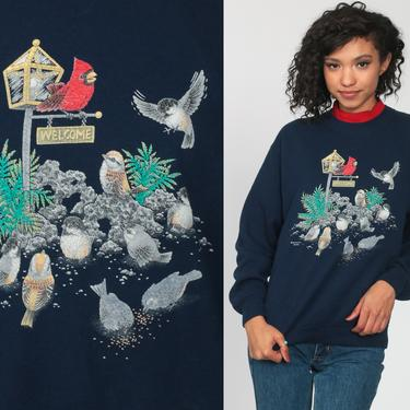 Bird Sweatshirt CARDINAL Shirt 80s Sweatshirt 90s Navy Blue Red Jumper Graphic Retro Pullover 1980s Sweater Medium by ShopExile