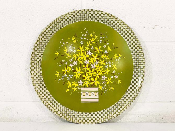 Vintage Green Floral Metal Drink Tray Plate Retro Round Mid-Century Flower Flowers USA Made Daisy White Yellow Barware Serving Hallmark by CheckEngineVintage