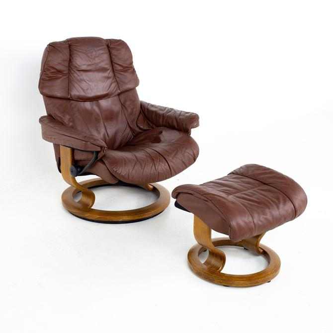 Ekornes Stressless Paloma Mid Century Reclining Swivel Leather Lounge Chair and Ottoman - mcm by ModernHill