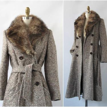COLD WAR Vintage 70s Coat | 1970s Joseph Magnin Belted Wool Tweed Overcoat with Raccoon Fur Trim | Glam, Disco, Boho, Designer | Size Small by lovestreetsf