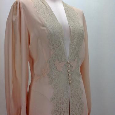 1930'S-40'S Sheer Rayon & Lace Negligee in Soft Peach /Peek-a-Boo Cut-out Front / Beautiful Lace Details / Size Medium by GabrielasVintage
