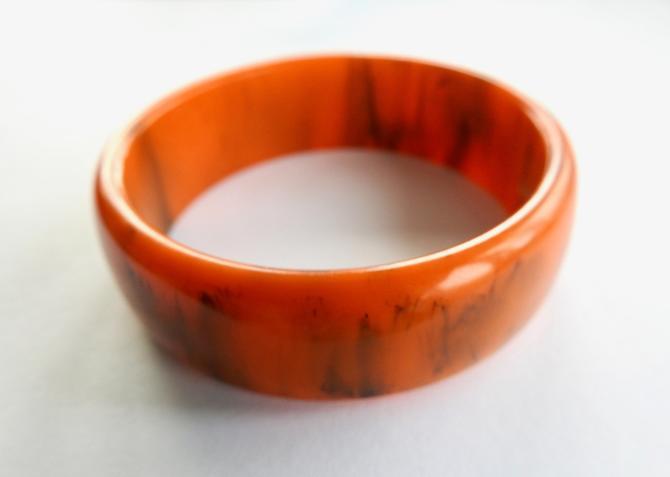 Marbled Orange Bakelite Bracelet by LegendaryBeast