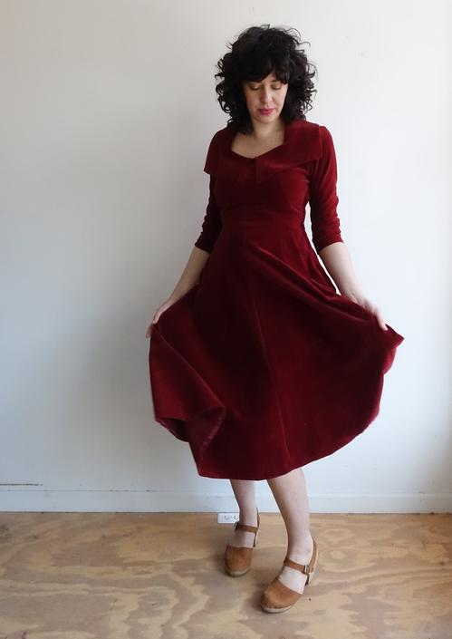 39e63a729a7 Vintage 50s Red Velour Dress  1950s Formal Maroon Dark Red Cocktail ...