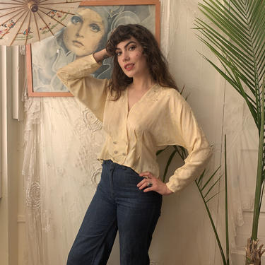 80's/90's SILKY BLOUSE - batwing - cream - snake print - rhinestones - large by GlamItToHell