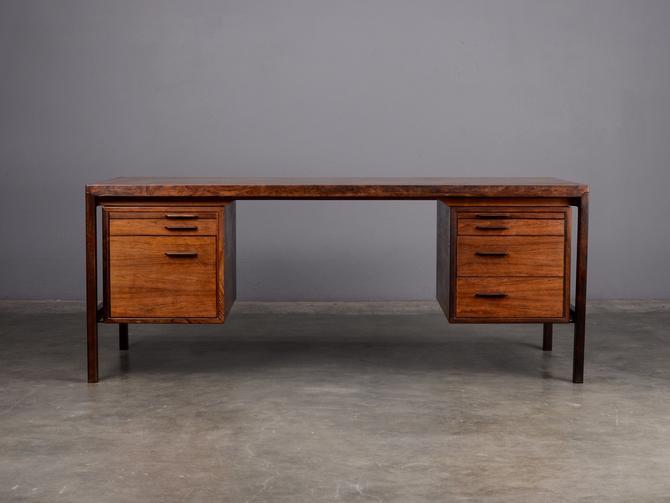 6 ft. Mid Century Desk Rosewood Danish Modern Rosengren Hansen by MadsenModern