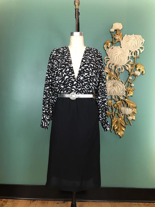 1980s blouson dress, vintage 80s dress, black and white, sparkle glitter dress, size medium, cachet, balloon sleeves, plunging, holiday, nye by BlackLabelVintageWA