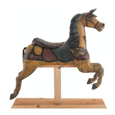 19th Century Charles Dare American Hand Painted & Carved Wooden Early Carousel Horse Figure by LynxHollowAntiques