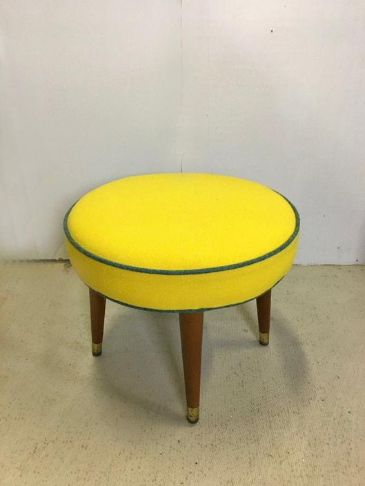 Mid Century Upholstered Round Ottoman by retrocraftdesign