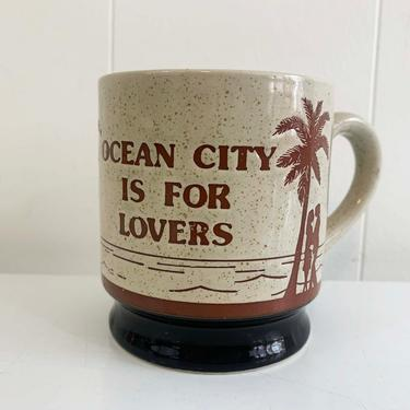 Vintage Ocean City MD Mug 1990s Maryland CNI Coffee Cup Souvenir Tea Gift Brown Tan Beige Travel Kitsch OC is for Lovers 90s by CheckEngineVintage