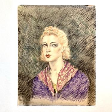 Antique Art Deco Portrait Drawing of Young Woman, likely Edouard Chimot 1930s by templeofvintage