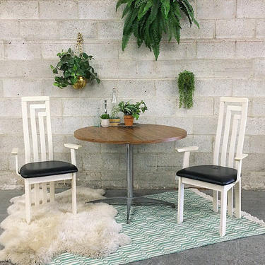 LOCAL PICKUP ONLY Vintage Dining Chairs Retro 1980s Set of 2 Matching White Wood + High Bar Back Frame + Black Vinyl Seat + Dining Chairs by RetrospectVintage215