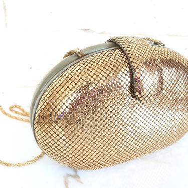 Whiting & Davis Gold Mesh Clutch Purse Oval Shaped Evening Bag 1970's  Part Bag by TheUnapologeticSoul