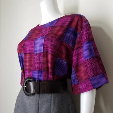 Volup Vintage 90s Secretary Blouse ~ Short Sleeve Blouse ~ Womens Size 2X/ 3X ~ Pink & Plum Geometric Print ~ Boxy Cut Plus Size Blouse Top by SoughtClothier