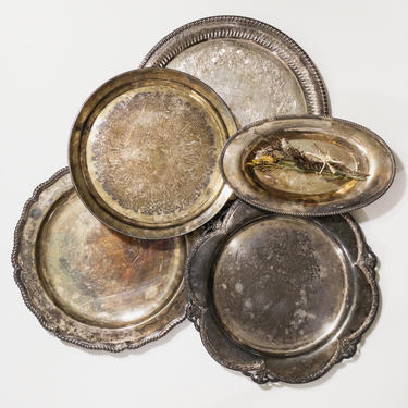 Vintage Patina Aged Silverplate Trays, Vintage Barware, Hanging Tray Wall Decor, Tarnished Serving Trays, Round Tray by PebbleCreekGoods