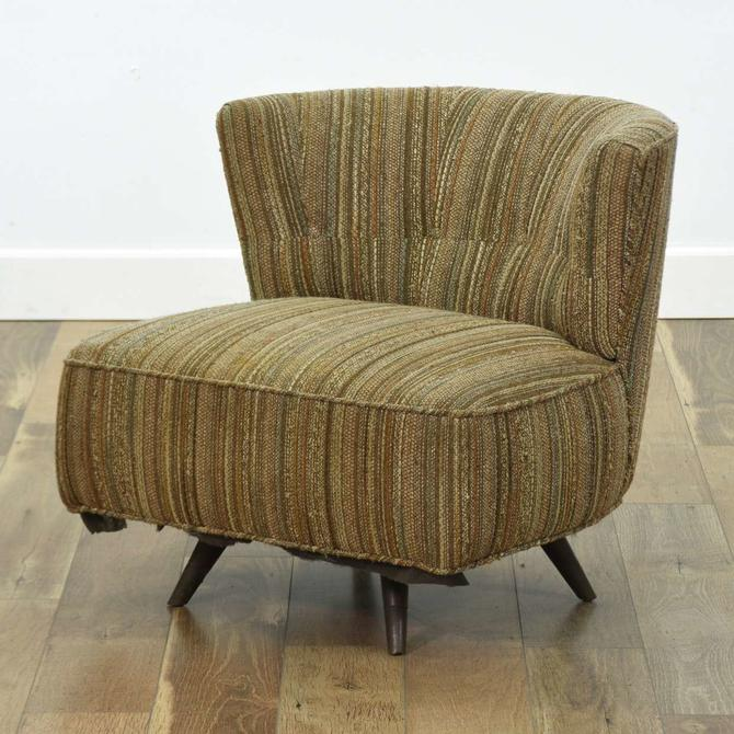 Mid Century Modern Swivel Barrel Back Lounge Chair