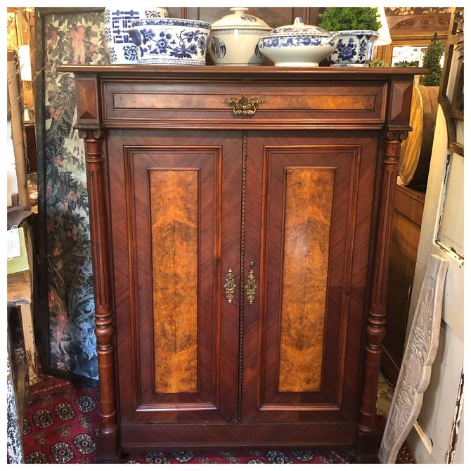 Antique burled walnut gentlemen's cabinet .. SHIPPING available please contact by RustandRefind