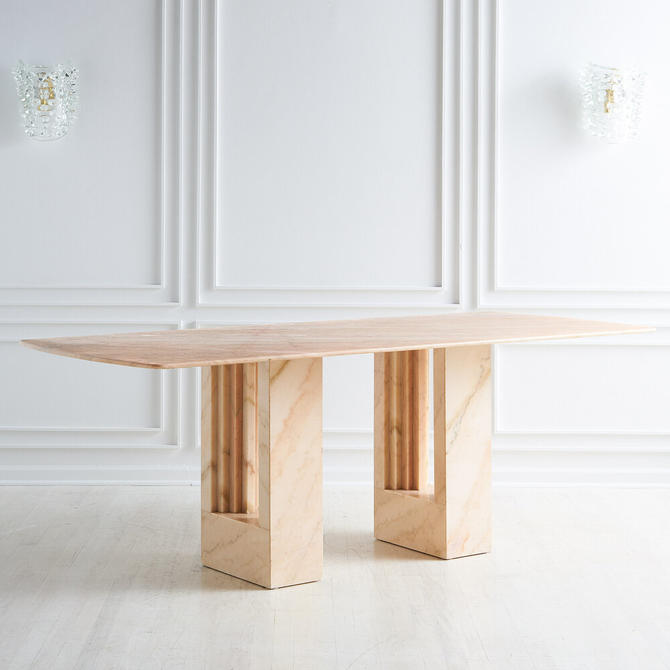 Rosa Portuguese Marble Dining Table in the style of Carlo Scarpa and Marcel Breur