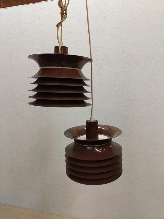 Pair of Vintage Danish Modern Hanging Pendant Lamps by FarOutFindsNYC