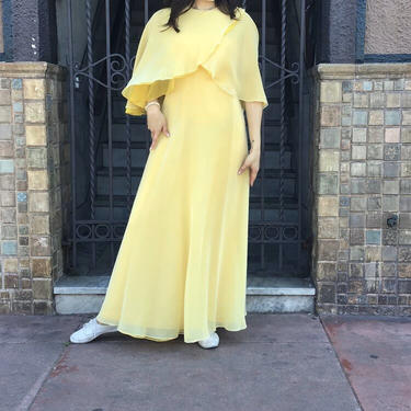 Late 60's Rizkallah for Malcolm Starr Butter Yellow Gown by laloupevintage