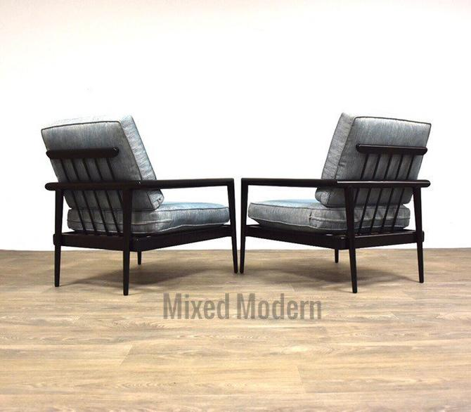 Edmond Spence Black Lounge Chairs - A Pair by mixedmodern1