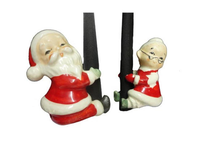Vintage Christmas Candles.Vintage Christmas Candle Hugger Vintage Santa Mrs Claus Candle Climber Mid Century Christmas Ceramic Lefton Christmas Taper Candle By