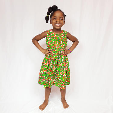 Green and orange fit and flare girl's ankara dress by GLAMMfashions