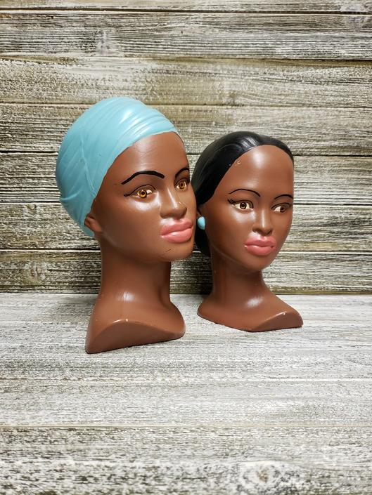 Vintage Holland Mold Busts, Mid Century Modern Girl & Boy Head Bust, 1960's Ceramic Brunette Heads, Great as Bookends, Vintage Home Decor by AGoGoVintage