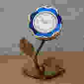 Sheffield Blue Enameled Flower Wind Up Alarm Clock by ilikemikes