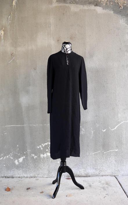 e8c2deb3a336 70s Vintage Dress | Little Black Dress LBD | Simple Tunic Dress | Long  Sleeve Dress