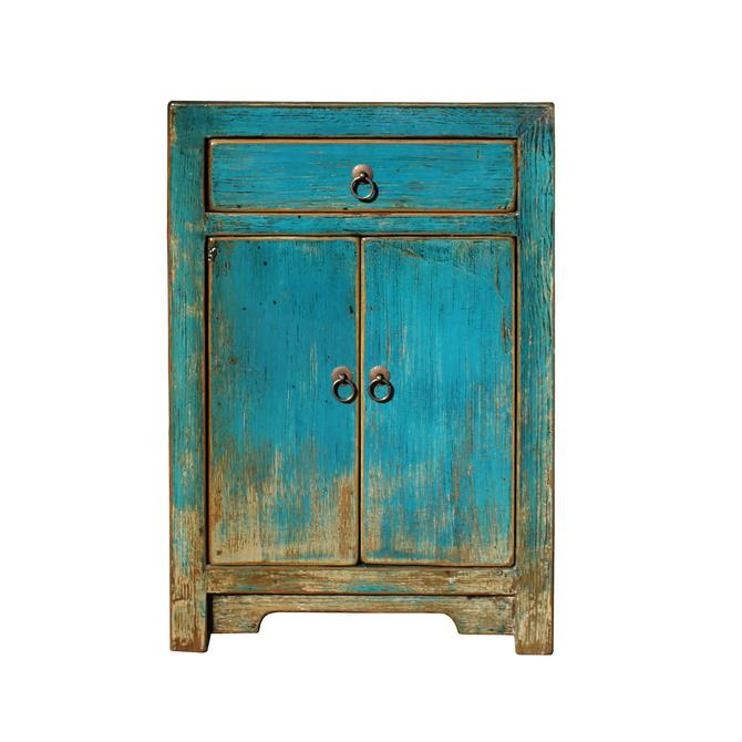Distressed Teal Blue Lacquer Drawer End Table Nightstand cs5435S