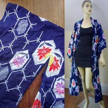 Vintage cotton kimono long robe in rich blue, white, vibrant pink & orange, dressing gown, long ankle length bathrobe w/ angel wing sleeves by forestfathers