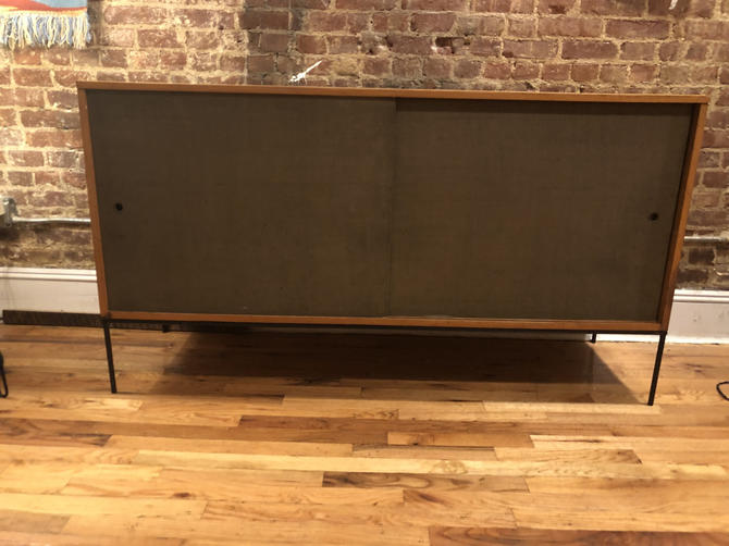 "Paul mccobb mid century modern credenza sideboard dresser maple 4 drawer seaweed doors iron base legs 60"" by symmetryvintage"